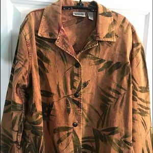 Chicos jacket Sz 2 tropical leaf design coat